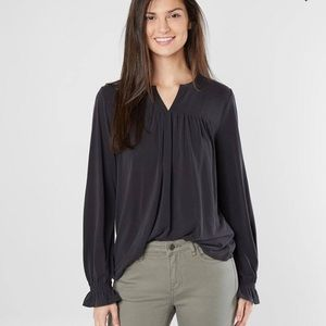 LUCKY Ruched Split Neck Top